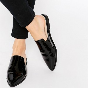 Women's Black Oxfords comfortable Flat  Mule Shoes