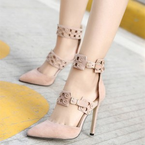 Women's Pink Ankle Straps Pointed Toe Stiletto Heel Pumps