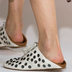 Black and White  Comfortable Flats Mules Strapy Dot Sandals