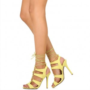 Yellow Lace up Sandals Open Toe Strappy Stiletto Heels for Women