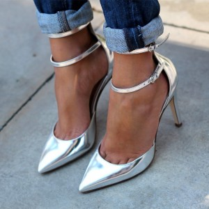 Women's Silver Ankle Strap Heels Pointy Toe Stilettos Pumps
