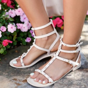 White Flat Sandals Open Toe Rock Studs T Strap Sandals