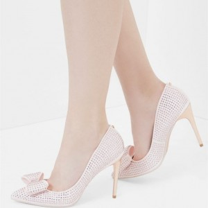 Light Pink Bow 4 inch Heels Rhinestone Stiletto Heels Office Shoes