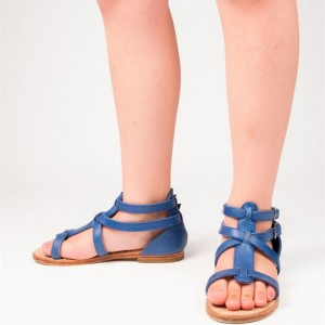 Women's Blue T-strap  Flats gladiator Sandals