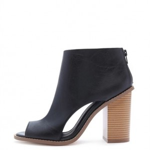 Black Cut Out Boots Peep Toe Wooden Chunky Heel Ankle Boots