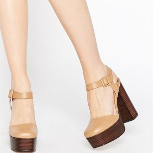 Tan Closed Toe Sandals Chunky Heel Platform High Heel Shoes