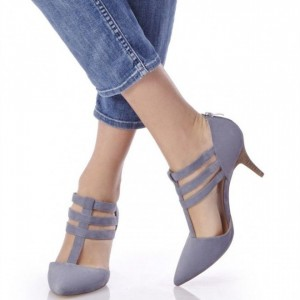 Light Purple T Strap Sandals Closed Toe Kitten Heels Pumps