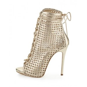 Golden Lace up Heels Peep Toe Cage Sandals Stiletto Heels
