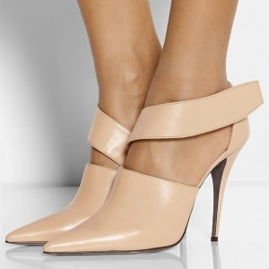 Nude Vegan Shoes Pointy Toe Dressy Pumps for Office Ladies