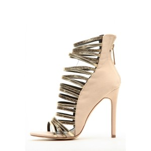 Nude and Gold Metallic Strappy Gladiator Heels Stiletto Heel Sandals
