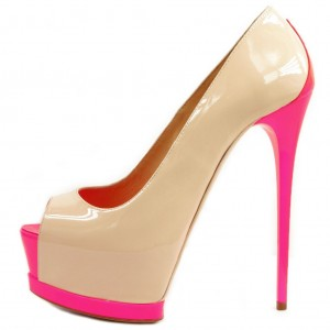Nude and Pink Patent Leather Platform Heels Stiletto Heel Pumps