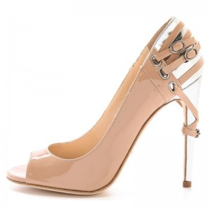 Nude and White Patent Leather Peep Toe Heels Pumps with Straps
