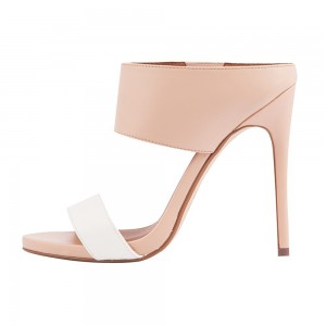 Nude and White Stiletto Heel Mules Evening Shoes Summer Sandals