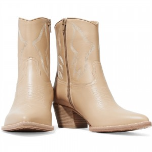 Nude Block Heels Ankle Boots Fashion Cowgirl Boots