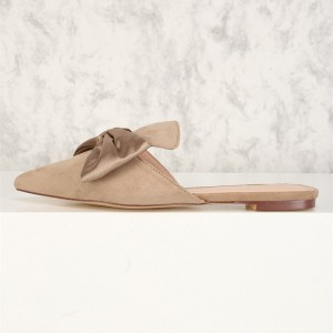 Nude Bow Flat Mule Loafers for Women