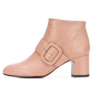 Pink Buckle Block Heel Ankle Booties