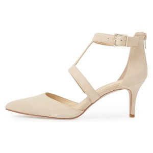 Beige Buckle Stiletto Heel Ankle Strap Heels Pumps