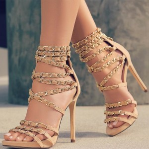 Nude Chain Strappy Sandals Stiletto Heels Sexy Shoes