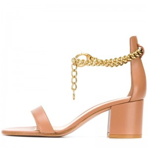 Nude Chains Ankle Strap Block Heel Sandals
