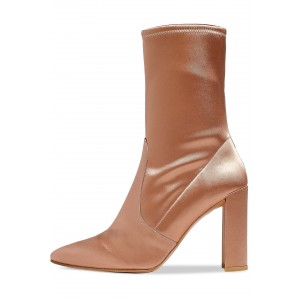 Women's Satin Stretch Boots Chunky Heel Sock Booties in Champagne