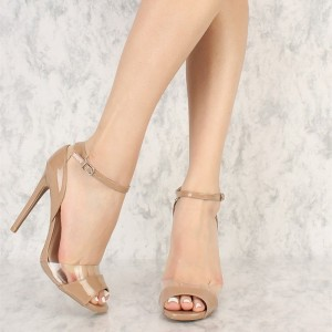 Nude Clear Heels Peep Toe Stiletto Heel Ankle Strap Sandals