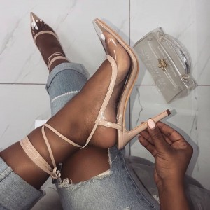 Nude Clear Heels Transparent Strappy Heels Pointy Toe Stilettos Pumps