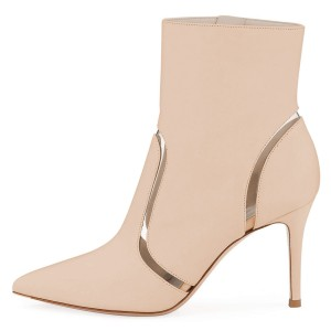 Nude Clear Stripes Pointy Toe Stiletto Heel Ankle Booties