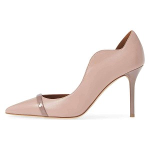 Nude Curvy Dorsay Stiletto Heels Pumps