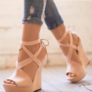 Nude Cut out Back Lace up Wedge Sandals Peep Toe Platform Sandals