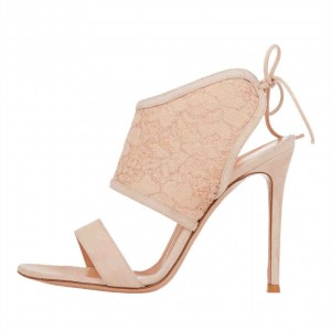 Nude Lace Stiletto Heel Mules Sandals