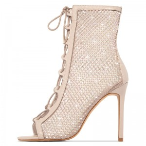 Nude Lace Up Boots Nets Rhinestone Stiletto Heel Ankle Boots