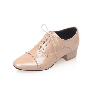 Nude Lace up Women's Oxfords Block Heel School Shoes US Size 3-15