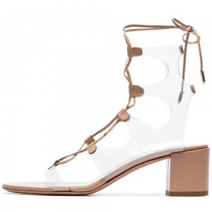 Nude Lace Up Clear PVC Gladiator Heels Block Heel Sandals