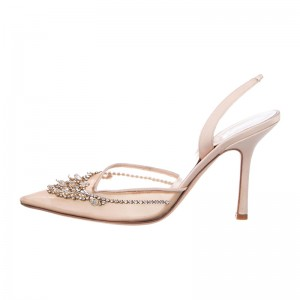Blush Mesh Rhinestones Stiletto Heel Slingback Pumps Wedding Shoes