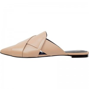 Nude Loafer Mules Pointed Toe Flat Mule