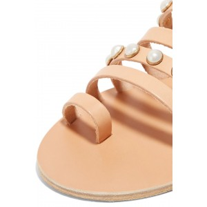 Nude Multi Straps Pearl Women's Slide Sandals