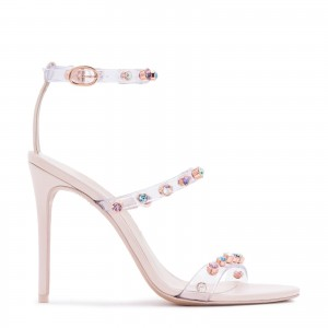 Nude Open Toe Three Strap Clear Heels Stilettos Rhinestone Sandals