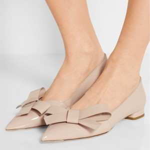 Nude Patent Leather Bow Comfortable Flats Pointy Toe Shoes
