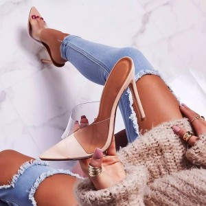 Nude Patent Leather Clear Mule Heels