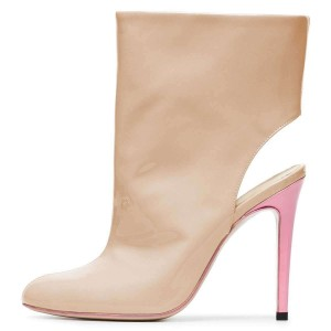 Nude Patent Leather Cut Out Stiletto Heel Ankle Booties
