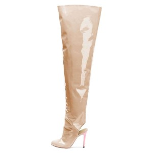 Nude Patent Leather Slingback Stiletto Boots Over-the-knee Boots