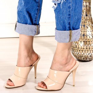 Nude Peep Toe Stiletto Heel Joint Mules Sandals
