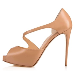 Nude Platform Peep Toe Heels Sandals for Women