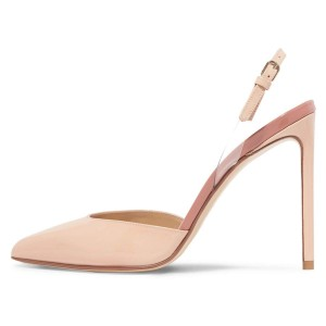 Nude Pointy Toe Stiletto Heel Slingback Pumps