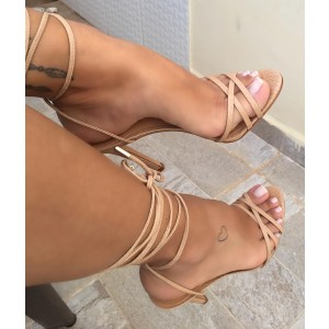 Nude Python Stiletto Heels Strappy Sandals