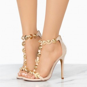 Nude Retro Rivets T Strap Sandals Suede Stiletto Heel Sandals