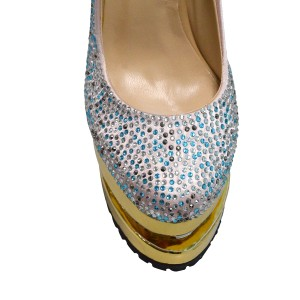 Gold Sparkly Heels Sequined Platform Heels Pumps High Heels Shoes