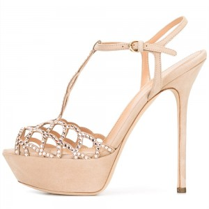 Nude Suede Wedding Heels Rhinestone T Strap High Heel Sandals