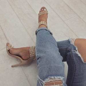 Nude Rivets Stiletto Heels Sandals Open Toe Ankle Strap Sandals