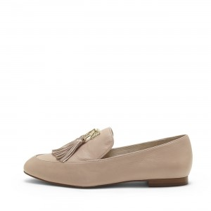 Nude Round Toe Loafers for Women Comfortable Flats with Tassels